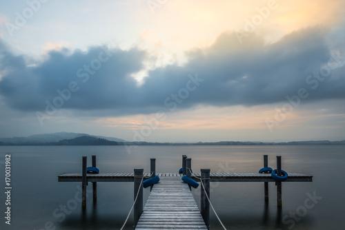 Fototapety, obrazy: Wooden pier.  Sunset on the lake.