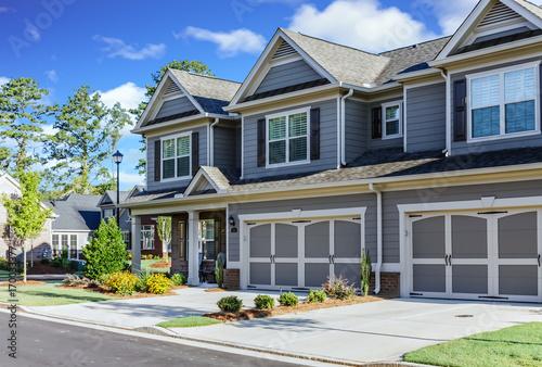 Obraz na płótnie Two Garages on New Townhouses