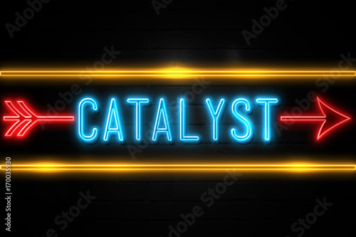 Catalyst  - fluorescent Neon Sign on brickwall Front view Canvas Print
