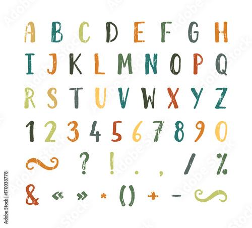 Valokuvatapetti Handwritten font with punctuation marks