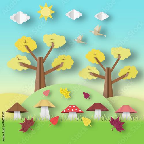 Autumn Origami Landscape.