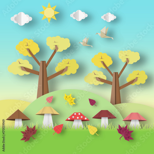 Foto op Aluminium Turkoois Autumn Origami Landscape.