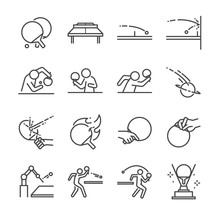 Ping Pong Line Icon Set. Included The Icons As Ball, Racket, Table Tennis, Player, Serves, Defender, Table Tennis And More.