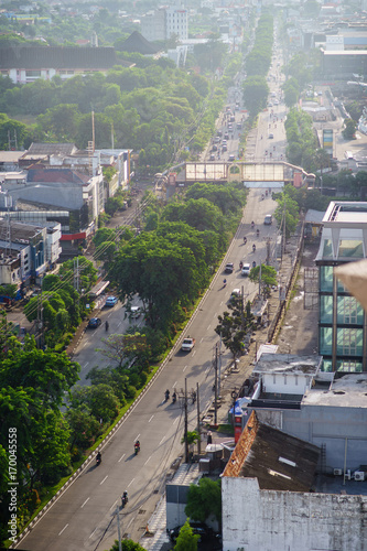 Photo Stands Paris bird view over city on sun rise in Surabaya, Indonesia