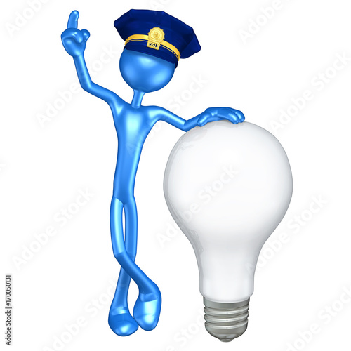 The Original 3D Character Police Officer Illustration With A Light Bulb Tapéta, Fotótapéta