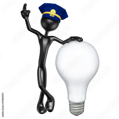 Vászonkép The Original 3D Character Police Officer Illustration With A Light Bulb