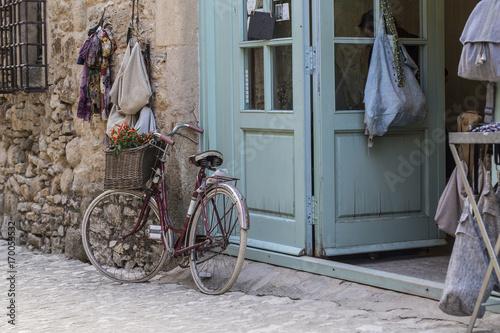 Deurstickers Fiets Bici Old Vintage en Peratallada