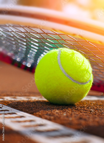 .tennis ball on a tennis court