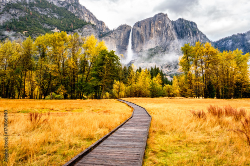 Meadow with boardwalk in Yosemite National Park Valley at autumn Canvas Print