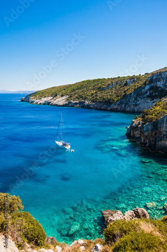 Cuadros en Lienzo View of  Agios Nikolaos blue caves  in Zakynthos (Zante) island, in Greece