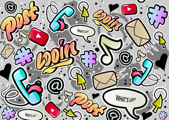 Graffiti texture with social media signs and other fun illustrations . Vector