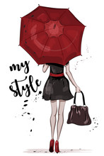 Cute Girl With Red Umbrella. Hand Drawn Fashion Woman. Sketch. Vector Illustration.