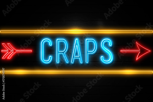 Craps  - fluorescent Neon Sign on brickwall Front view Canvas Print