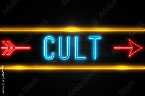 Fotografie, Obraz  Cult  - fluorescent Neon Sign on brickwall Front view