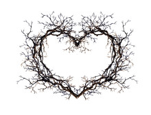 Heart Shape - Wreath From Branches, Twigs. Watercolor For Tattoo Design