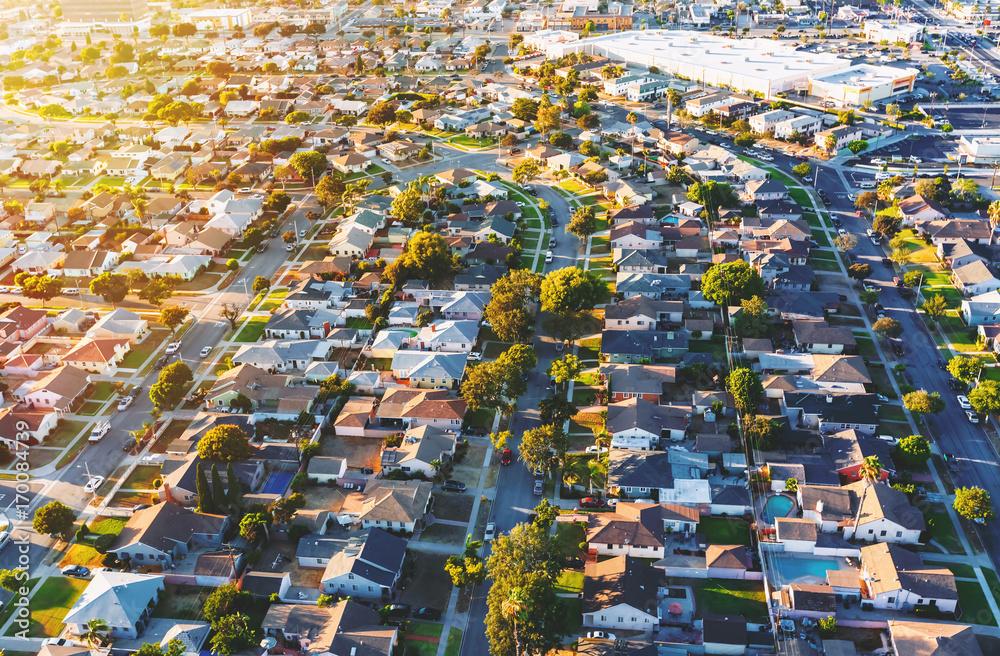 Fototapeta Aerial view of of a residential neighborhood in Hawthorne, in Los Angeles, CA