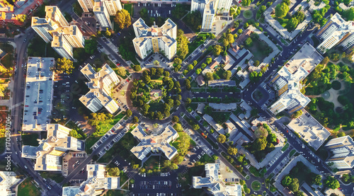 Foto op Canvas Australië Aerial view of buildings on near Wilshire Blvd in Westwood, Los Angeles, CA