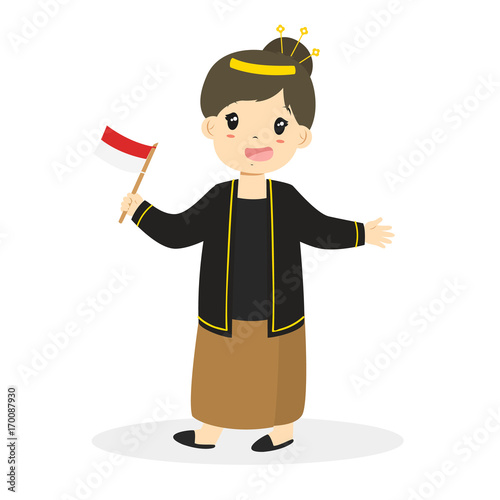 javanese girl wearing traditional dress and holding indonesian flag cartoon vector buy this stock vector and explore similar vectors at adobe stock adobe stock holding indonesian flag cartoon vector