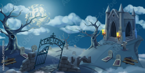 Cemetery, halloween background. Cartoon landscape panorama, 3d vector graphics