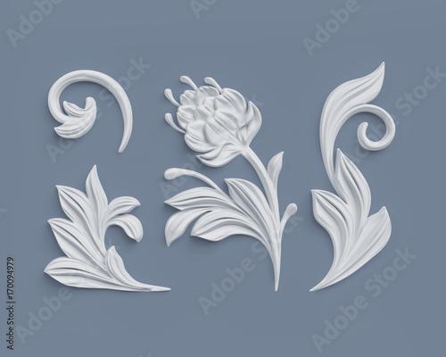 3d render, floral design elements, abstract botanical clip art, classical archit Canvas Print