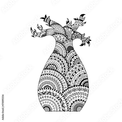 Vector baobab tree. Coloring page book in zentangle style Tableau sur Toile