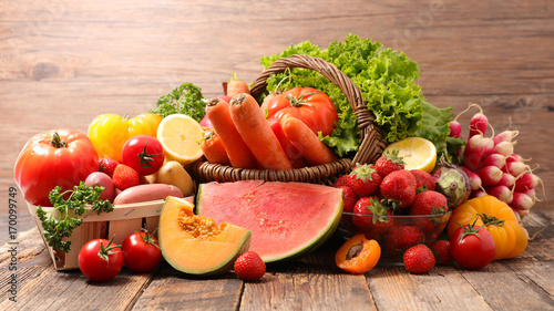 assorted raw fruits and vegetables © M.studio