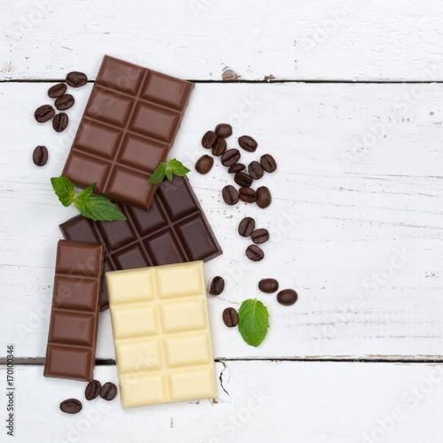 Plakat Czekoladowe słodycze tablica jedzenie kwadratowych przestrzeni kopii z góry