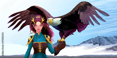 Photo Stands kids room Eagle trainer elf on the mountains
