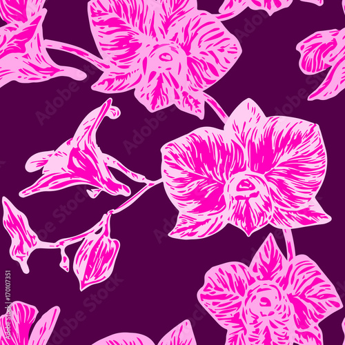 orchid-flowers-hand-drawn-doodle-sketch-in-pop-art