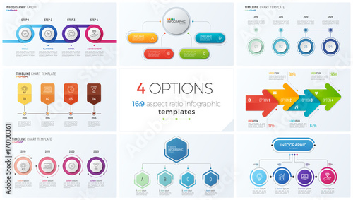 Photographie  Collection of eight vector templates for infographics with 4 options, steps, pro