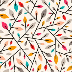 Naklejka Liście Seamless geometric pattern of autumn leaves and twigs
