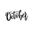 October. Autumn brush lettering.
