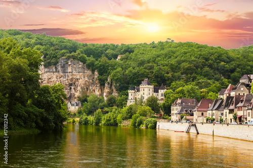 Fotografie, Obraz La Roque Gageac vue depuis la Dordogne