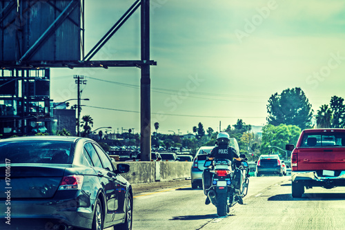 Staande foto Los Angeles Police officer on motorcycle in Los Angeles
