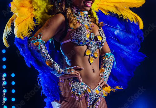 Tuinposter Carnaval Beautiful bright colorful carnival costume illuminated stage background. Samba dancer hips carnival costume bikini feathers rhinestones close up.