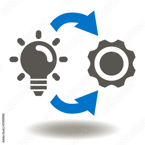 """Implementation Icon Vector. Lamp Cogwheel Circle Arrows ...