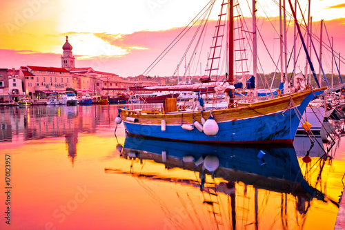 Deurstickers Eiland Historic island town of Krk golden dawn waterfront view