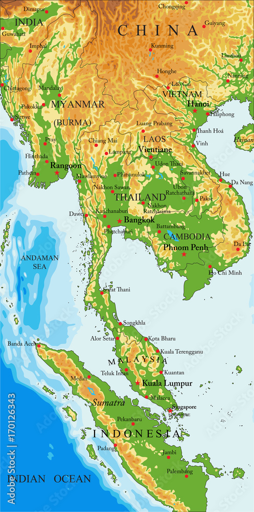 Indochina physical map Foto, Poster, Wandbilder bei EuroPosters