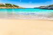 Stunning beach bay with beautiful turquoise sea water scenery on Majorca island, Spain