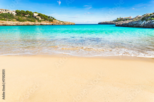 Stunning beach bay with beautiful turquoise sea water scenery on Majorca island, Spain