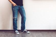 Man's Legs In Jeans