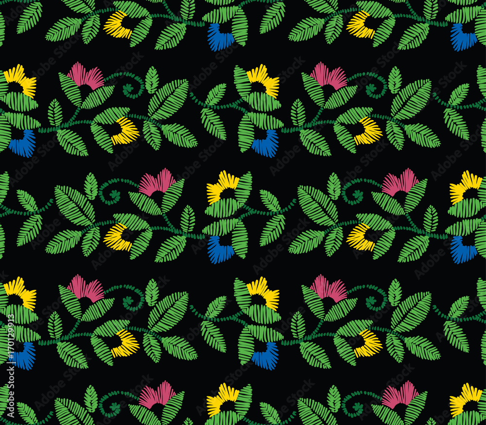 Vector seamless decorative floral embroidery pattern, ornament for textile decor. Ethnic handmade style border background design.