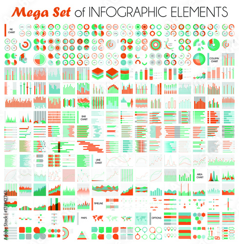 Big Vector Set Of Infographic Elements And Different Types Of Graph