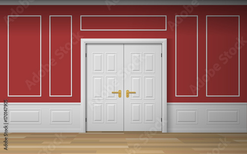 classic room interior with double door wall panels decorative frames ...