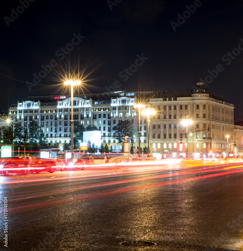 Foto op Aluminium Nacht snelweg modern city street with lights and traffic at night. background, city life.