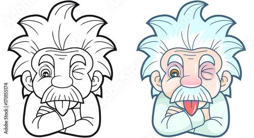 Photo  cartoon funny Einstein shows his tongue