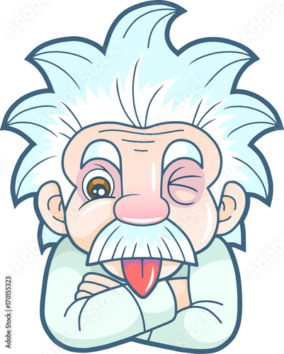 Photo  cartoon funny Einstein shows his tongue