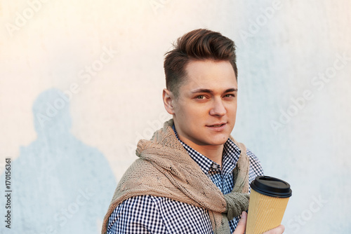 Close Up Portrait Of Stylish Joyful Young Caucasian Man Wearing