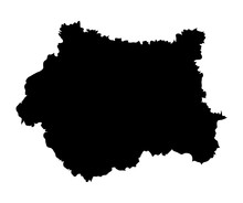 West Yorkshire Vector Map Silhouette In Yorkshire And The Humber, Metropolitan County In England.