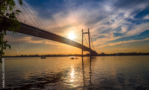 Canvas Prints Bridge Vidyasagar Setu - the cable stayed bridge on river Hooghly at sunset